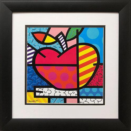 "Romero Britto ""The Apple"" NEWLY CUSTOM FRAMED Art Print - POP cubism Brizilian"