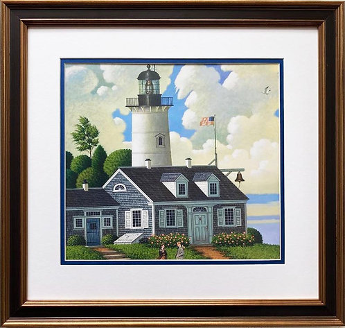"Charles Wysocki ""Jayson Sparkin' the Lighthouse Keepers"" New CUSTOM FRAMED Art"