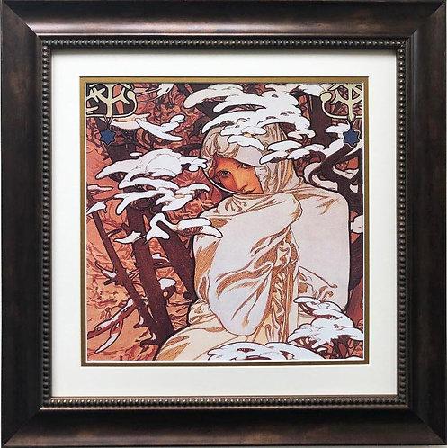 """Alphonse Mucha """"The Seasons: Winter """" 1900 (detail) CUSTOM FRAMED ART"""