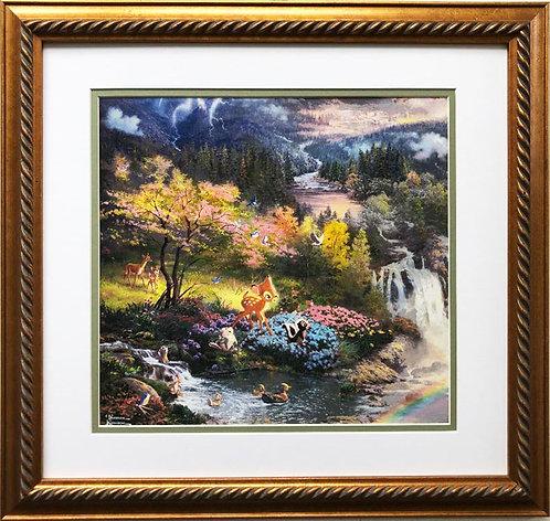 "Thomas Kinkade ""Bambi's First Year"" New CUSTOM FRAMED Art Print"