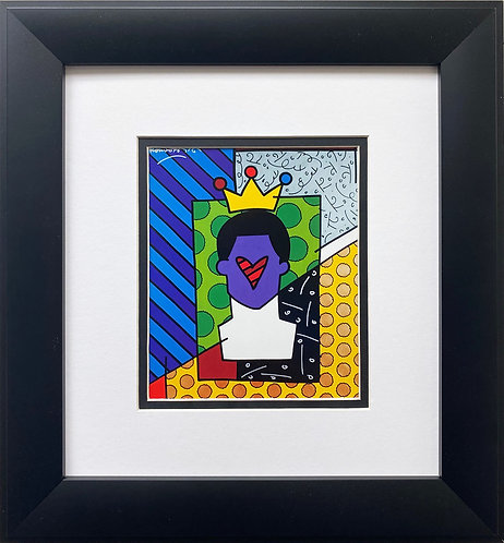 "Romero Britto ""Homage to Soccer Legend Pele"" FRAMED Pop Art"