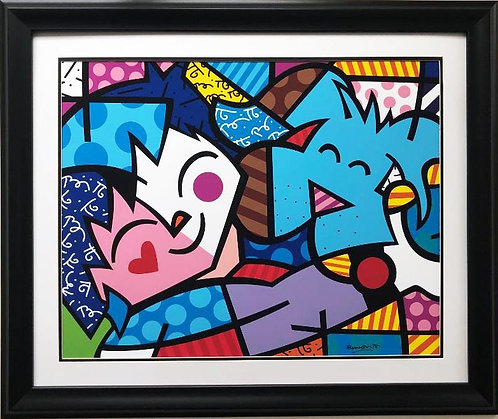 "Romero Britto ""Best Friends"" (lg) NEWLY CUSTOM FRAMED Art Print"