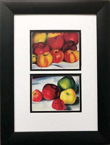 "Georgia O'Keeffe ""Apple Family 2 & 3"" Art Print Custom Framed"