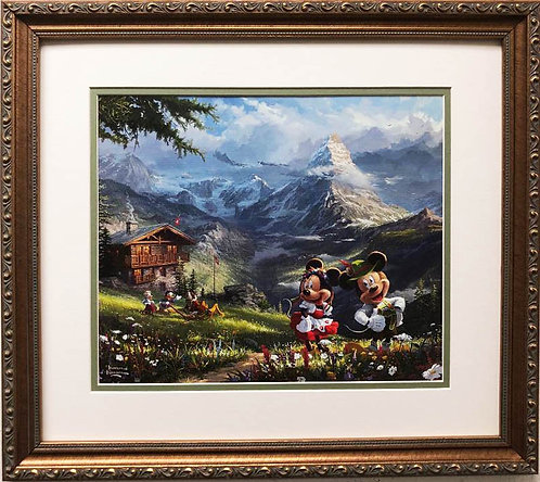 "Thomas Kinkade ""Mickey & Minnie In the Alps"" New CUSTOM FRAMED Art Print"