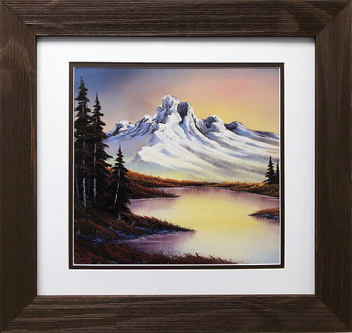 "Bob Ross ""Touch of Fall"" Happy Trees CUSTOM FRAMED ART Nature  Print Mountain"