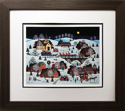"Jane Wooster Scott ""Jingle Bells & Carolers"" Custom FRAMED Lithograph  Signed"