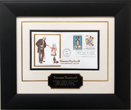 """Norman Rockwell """"The Little Nurse"""" First Day Issue Stamp Limited Edition Framed"""