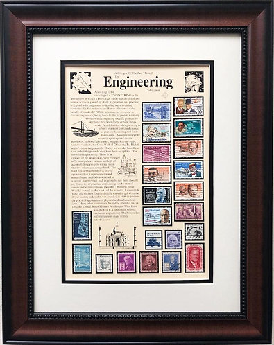 """Stamps """"Engineering Collection"""" Framed Stamp Art"""