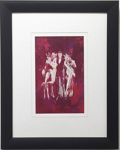"LeRoy Neiman ""Hef and Bunnies"" Newly CUSTOM FRAMED Art Print - PLAYBOY MAGAZINE"