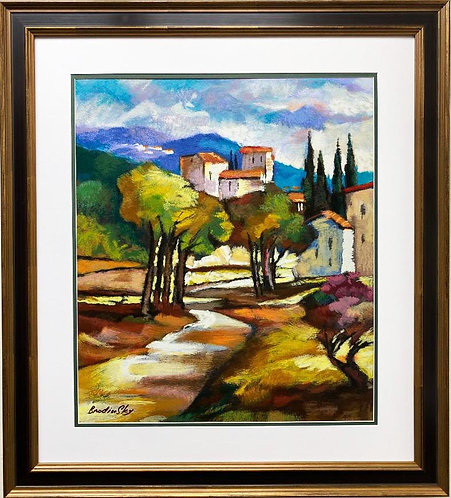 "Slava Brodinsky ""A Pass in the Grove"" Framed Hand Signed & # Serigraph Art"