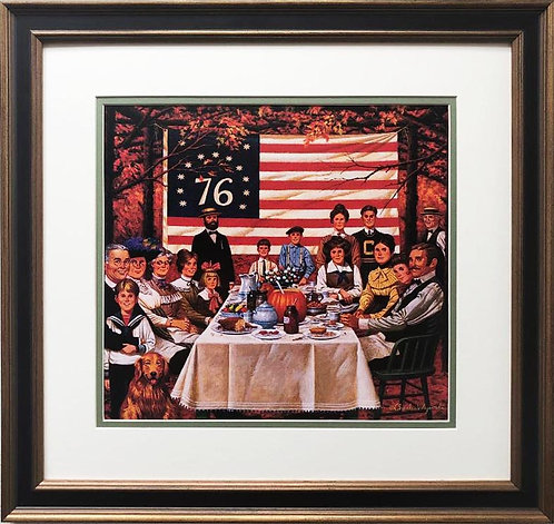 "Charles Wysocki ""The Thankful Ate A Hearty Meal "" New FRAMED Art"