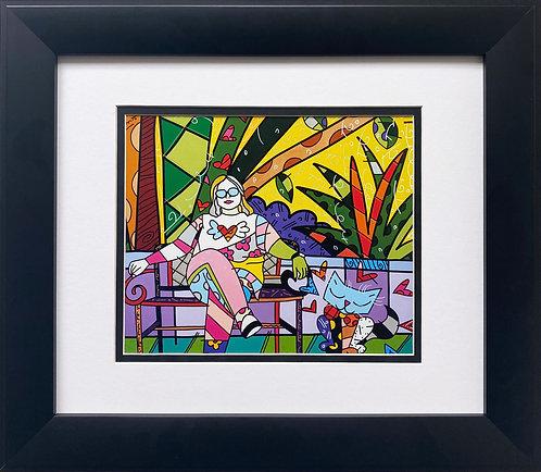 """Romero Britto """"Cheryl at Hemingway Garden"""" CUSTOM FRAMED Pop Art"""