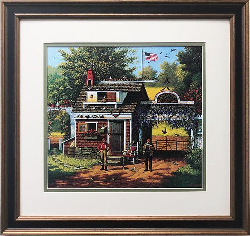 "Charles Wysocki ""Pigeon Pals"" New CUSTOM FRAMED Art"