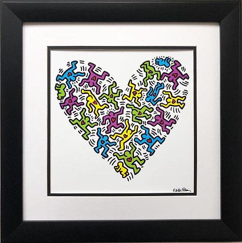 "Keith Haring ""Untitled, 1985"" Heart CUSTOM FRAMED Plate Signed Pop Art"