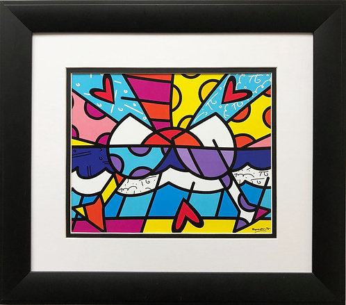 "Romero Britto ""Cheers"" NEWLY CUSTOM FRAMED Art Print - POP Wine Neo Cubism"