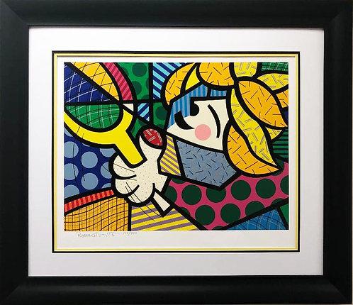 "Romero Britto ""Tennis Suite-Girl"" Hand Signed & # CUSTOM FRAMED Pop Art"