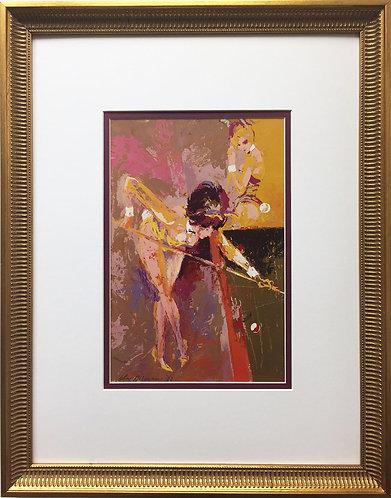"LeRoy Neiman ""Bunny Pool"" Custom FRAMED ART PRINT Billiards Pool Hall Playboy"