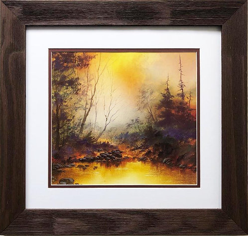 "Bob Ross ""Autumn Twilight"" CUSTOM FRAMED ART"