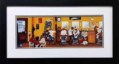"""Annie Lee """"Spit shine and Finger Wave"""" Custom FRAMED Black Art Barber Shop BLM"""