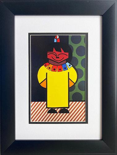 "Romero Britto ""Yellow Moon"" CUSTOM FRAMED Pop Art"