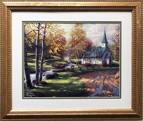 "Thomas Kinkade ""The Aspen Chapel"" New CUSTOM FRAMED Art"