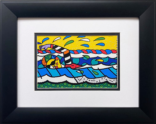 "Romero Britto ""Olympic Swimmer"" CUSTOM FRAMED Pop Art"