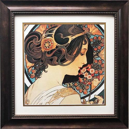 """Alphonse Mucha """"Cowslip """" 1899 (detail) FRAMED ART"""