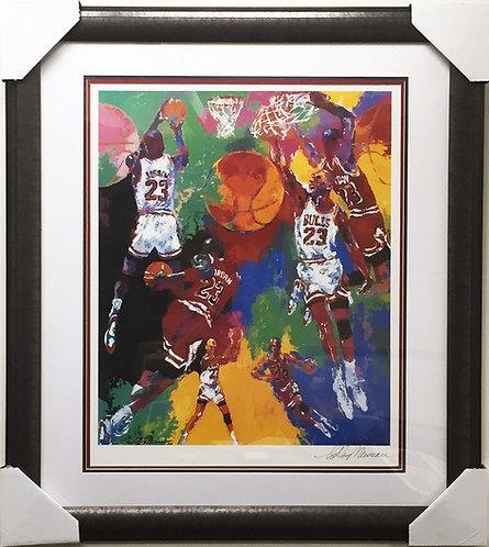 """LeRoy Neiman """"MICHAEL JORDAN"""" HAND SIGNED - CUSTOM FRAMED Art"""