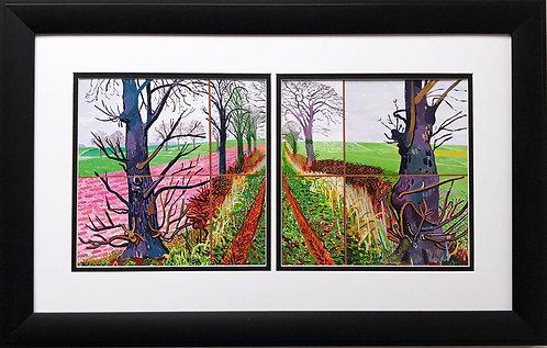 """David Hockney """"A Closer Winter Tunnel"""" Custom Framed Art Diptych"""