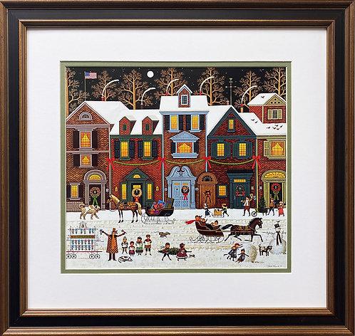 "Charles Wysocki ""A Merry Christmas Street"" New CUSTOM FRAMED Art"
