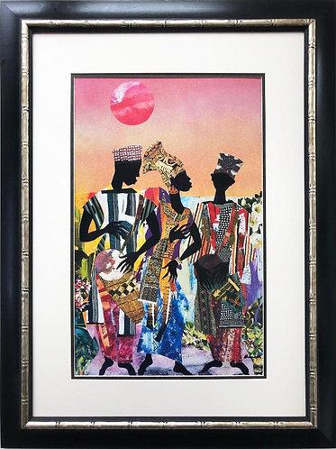 """James Denmark """"Drum Strut"""" Custom Framed African American Art"""