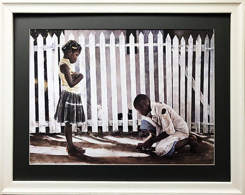 """Stephen Scott Young """"Boys Only"""" Plate Signed Custom FRAMED African American Art"""