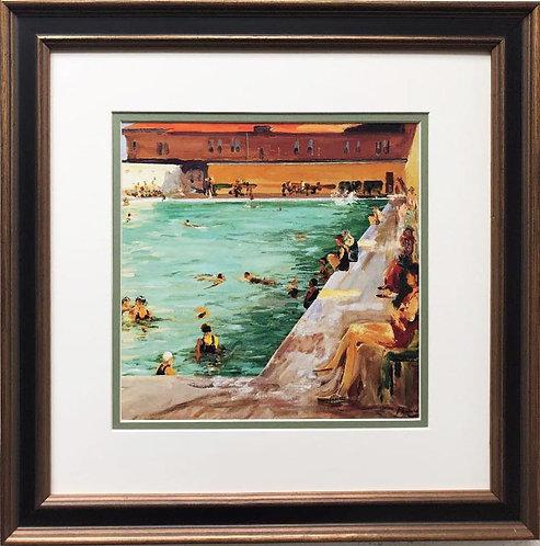 "Sir John Lavery ""The People's Pool"" 1927 Framed Art Print"