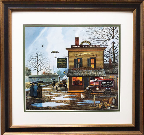 "Charles Wysocki ""Dampy Dunkin Donuts on a Dreary Day"""