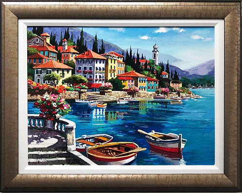 "Anatoly Metlan ""Boats on a Lake"" Framed Hand Signed & # Embellished Art"