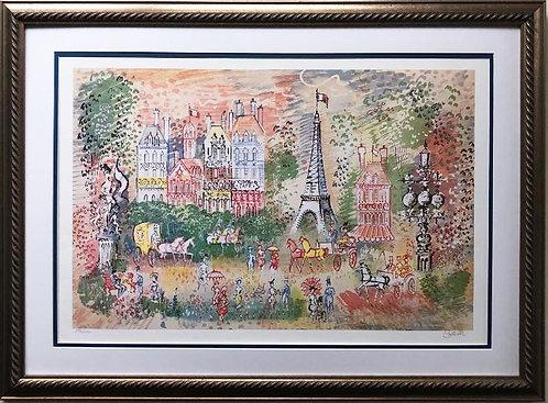 """Charles Cobelle """"Eiffel Tower"""" CUSTOM FRAMED New Art Hand Signed"""