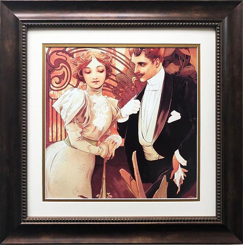 "Alphonse Mucha ""Flirt"" 1899 (detail) CUSTOM FRAMED ART"