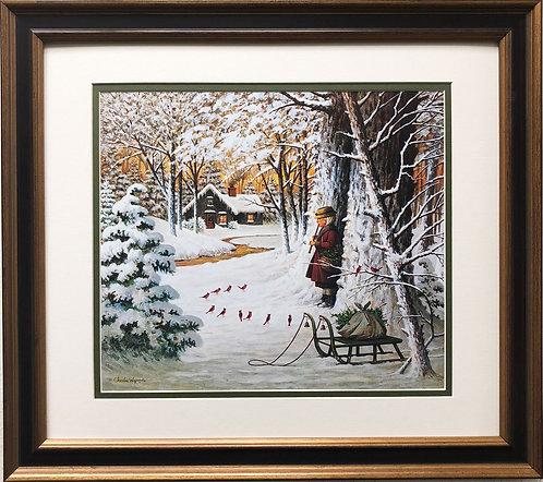 "Charles Wysocki ""Cardinal Christmas Serenade"" New CUSTOM FRAMED Art"