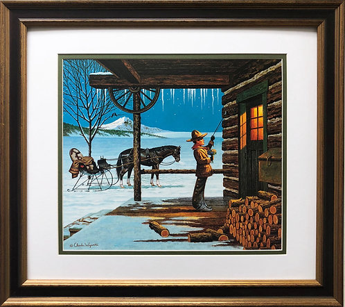 "Charles Wysocki ""Lil' Buckaroos First Date"" New CUSTOM FRAMED"