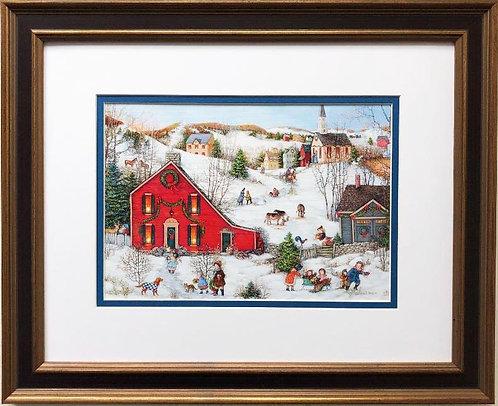 """Linda Nelson Stocks """"The Christmas Salt Box"""" FRAMED Art"""