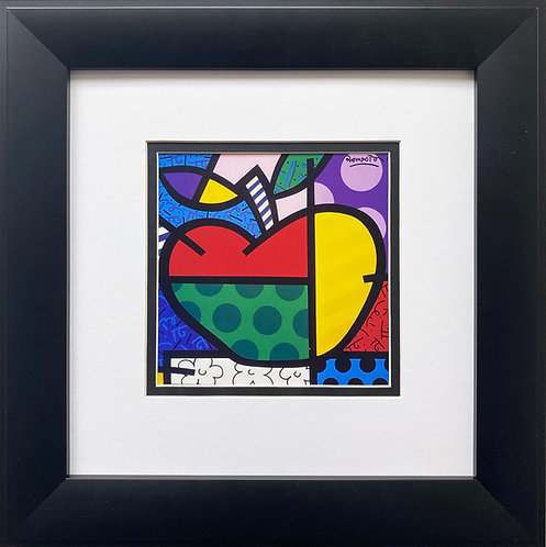 "Romero Britto ""The Apple"" CUSTOM FRAMED Pop Art"