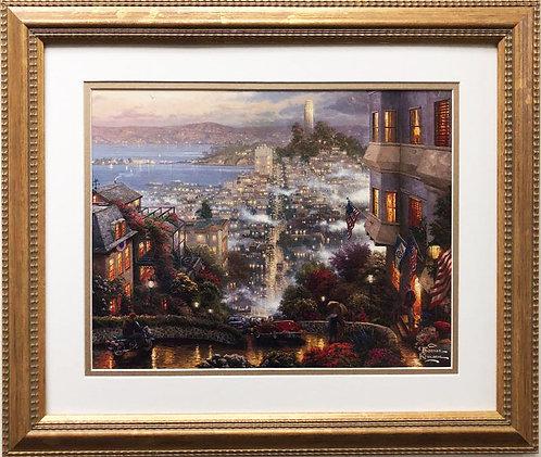 """Thomas Kinkade """"San Francisco, Lombard Street """" New CUSTOM FRAMED Art"""