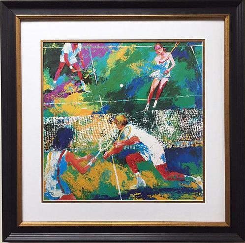 "LeRoy Neiman ""Mixed Doubles"" Newly CUSTOM FRAMED Art Lithograph TENNIS court ATP"