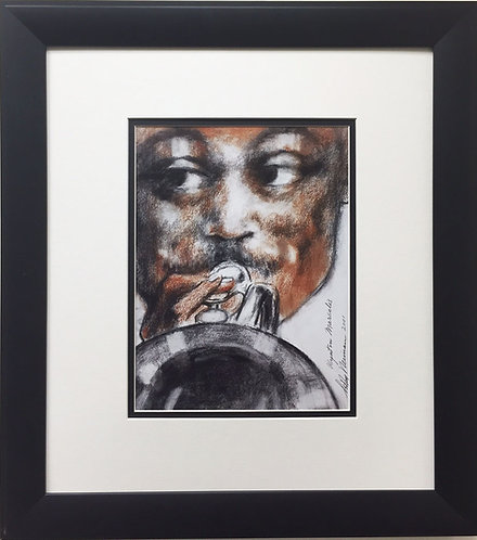"LeRoy Neiman ""Wynton Marsalis"" FRAMED ART PRINT New Orleans Jazz Trumpeter Music"