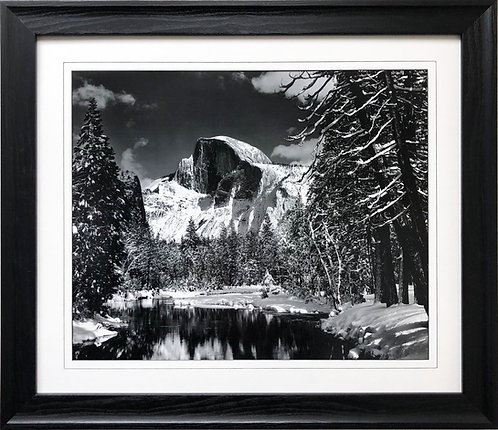 "Ansel Adams ""Half Dome Winter Yosemite"" Custom Framed NEW lithograph ART Photo"
