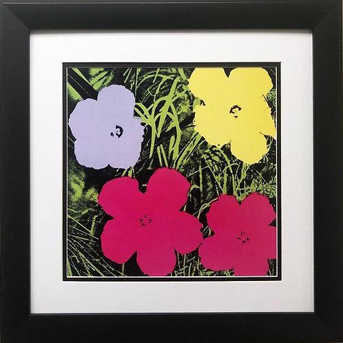 "Andy Warhol ""Flowers"" (Purple, Yellow, Pink) CUSTOM FRAMED Pop Art Litho"