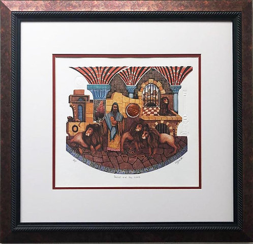"Amram Ebgi ""Daniel and the Lions"" FRAMED Art Signed"