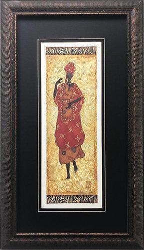 """Gretchen Shannon """"Kuba Figure II"""" CUSTOM FRAMED African Art"""