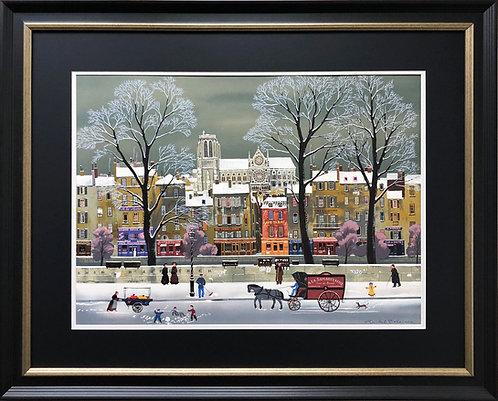 """Michel Delacroix """"La Niege Sur la Seine"""" Custom Framed  Paris Street Notre Dame"""