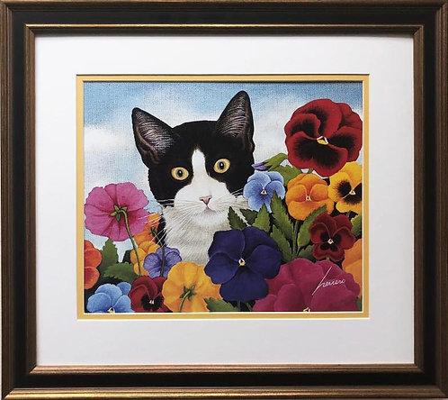 "Lowell Herrero ""Cat in Pansies"" New FRAMED Americana Art"
